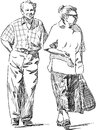 Elderly couple vector drawing of an at walk Stock Photos