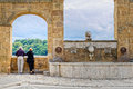 Elderly couple watching the view from the village of Pitigliano Royalty Free Stock Photo
