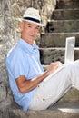 Elderly gentleman working outdoors Royalty Free Stock Photo