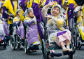 Elderly Japanese Festival Dancers in wheelchairs Royalty Free Stock Photo