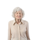 Elderly lady portrait of standing shot against white background Stock Photos