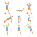 Elderly man character exercising set, healthy active lifestyle retiree, elder fitness vector Illustrations Royalty Free Stock Photo