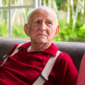 Elderly man eighty plus year old in a home setting Royalty Free Stock Photo