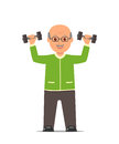 Elderly man in a sports suit trains with dumbbells. Active and healthy lifestyle old people.