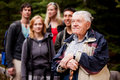Elderly Man Tour Guide Stock Photo