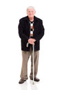 Elderly man walking stick happy with his on white background Royalty Free Stock Image