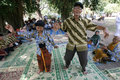 Elderly outbound the dances during event in a park in the city of solo central java indonesia Royalty Free Stock Images