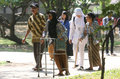 Elderly outbound the walk in the park when event in the city of solo central java indonesia Stock Photo