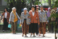 Elderly outbound the walk in the park when event in the city of solo central java indonesia Stock Images