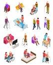 Elderly people isometric. Senior persons, helper nurse. Seniors medical home therapy. People in wheelchair. 3d