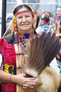 Elderly pow wow dancer of the plains tribes of canada a gathering aboriginal peoples who come together to share dance song food Royalty Free Stock Photography