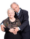 Elderly son with old mother on a white background Stock Images