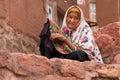 Elderly woman in Abyaneh, near Kashan, Iran Royalty Free Stock Photo