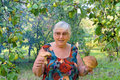 Elderly woman in apple garden Royalty Free Stock Images