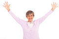 Elderly woman arms open Royalty Free Stock Image