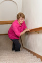 Elderly Woman Climb Stairs Mobility Issues Royalty Free Stock Photo
