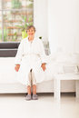 Elderly woman pajamas Stock Image