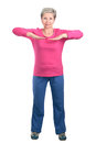 Elderly woman in position cheerful doing gymnastic exercises vigorously Stock Photos