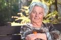 Elderly woman resting Stock Photo
