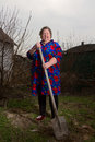 An elderly woman with a shovel cultivated garden Royalty Free Stock Photos