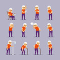 Elderly woman sick icons