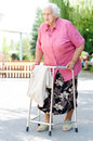 Elderly woman an standing with her walker in nature Stock Images