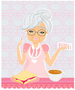 Elderly woman taking her medication with her meal illustration Stock Photography