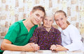 Elderly woman with the young doctor Royalty Free Stock Photography