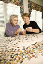 Elderly Woman and Younger Woman Stock Photo