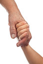 Elderly and young hands holding together isolated on white background Stock Photos