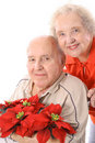 Eldery couple with flowers vertical Royalty Free Stock Photos
