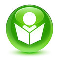Elearning icon glassy green round button