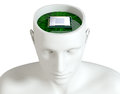 Elecrtonic brain one head of a manikin with an electronic circuit board and a cpu inside it d render Royalty Free Stock Photo