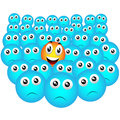 Elected smiley emoticon in the crowd Stock Photos