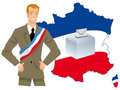 Election of a government portrait politician on map france for elections Royalty Free Stock Images