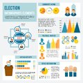 Election icon infographic and voting set with candidates debates symbols and charts vector illustration Royalty Free Stock Image