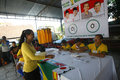 Election officers wearing football outfits in the presidential in the city of solo central java indonesia Stock Photos