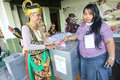 Election officers wearing puppets in the presidential in the city of solo central java indonesia Stock Photos
