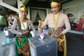 Election officers wearing puppets in the presidential in the city of solo central java indonesia Stock Image