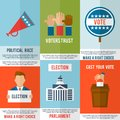 Election poster set voting and debate mini vector illustration Royalty Free Stock Photo