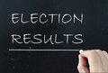 Election results handwritten on a chalk board Stock Photography