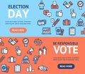 Election Signs Banner Horizontal Set with Color Outline Icons. Vector