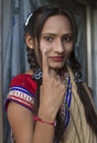 Election symbol indian girl showing on her finger after voted Royalty Free Stock Photography