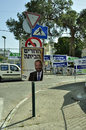 Elections day in Israel; posters everywhere. Royalty Free Stock Photos