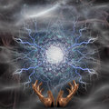 Electric arc with gesturing hands Royalty Free Stock Photo
