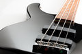 Electric Bass Guitar Black with rosewood neck Royalty Free Stock Photo