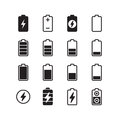 Electric battery, accumulator energy vector icons set