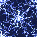 Electric blue vector lightning seamless pattern