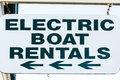 Electric boat rental rustic wooden rentals sign Stock Images