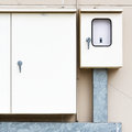 Electric box the on the wal Stock Photos